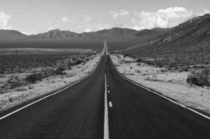grayscale photo of road